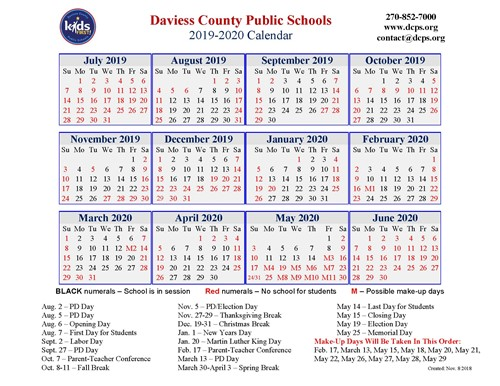 Evsc Calendar 2020 DCPS 2019 2020 Calendar   Daviess County High School