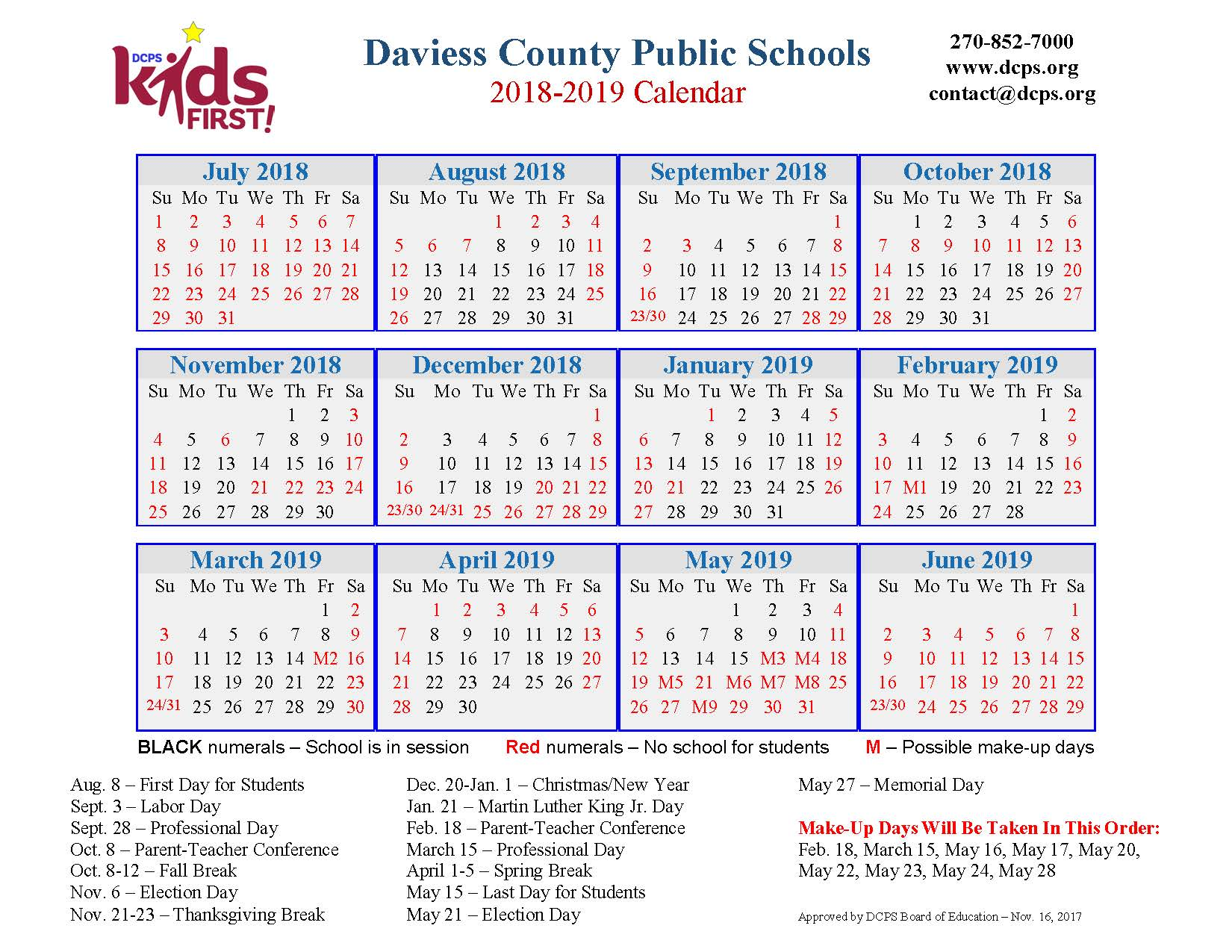 DCPS 2018-2019 instructional calendar
