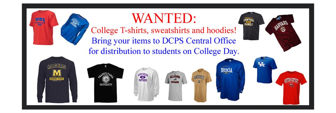 Donate college shirts to DCPS