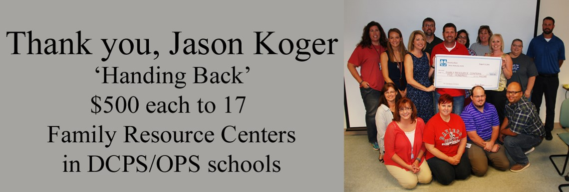 Jason Koger 'Handing Back' donation to Family Resource Centers