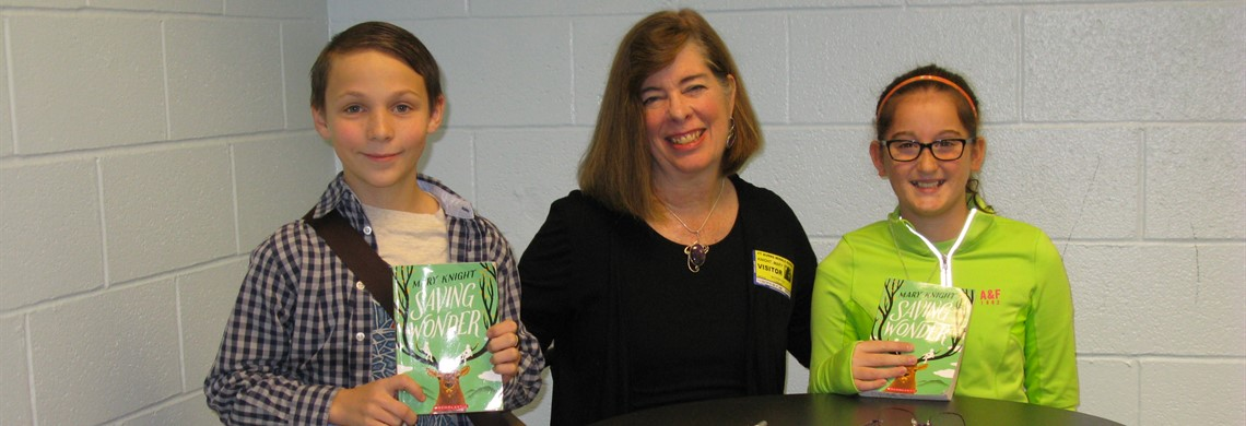 BMS Library Aides with Finding Wonder Author, Mary Knight