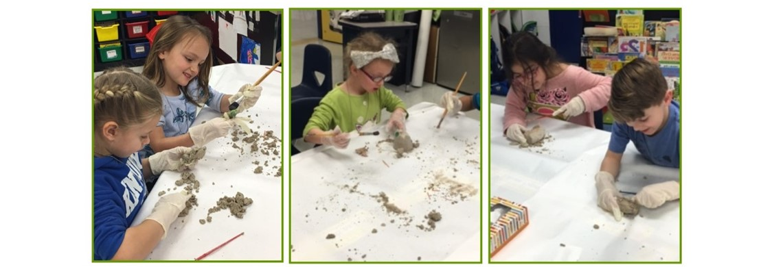 Team Settle trying their hands at being Paleontologists. This concluded their unit on Dinosaurs.