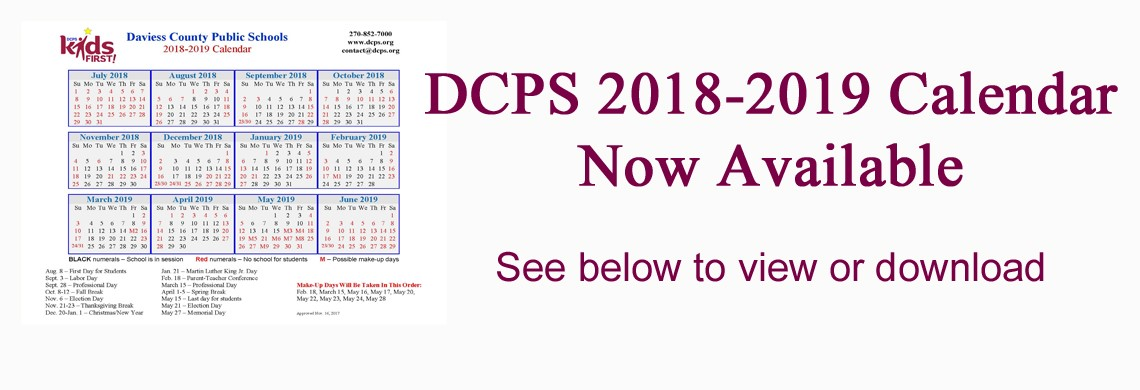 DCPS 2018-19 Calendar Now Available