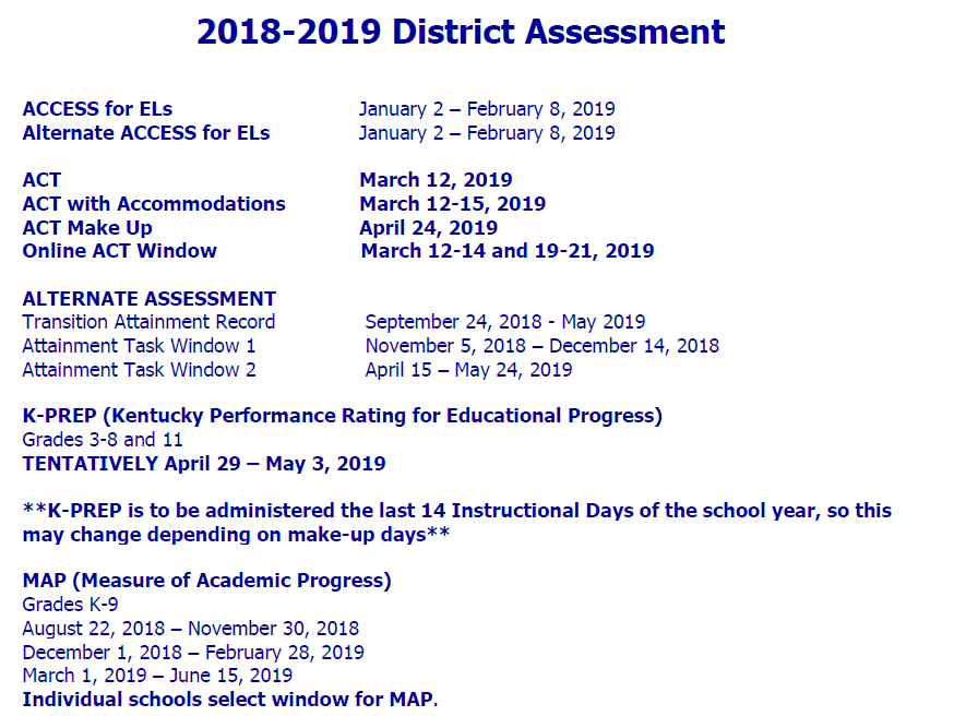 2018-19 District Assessment