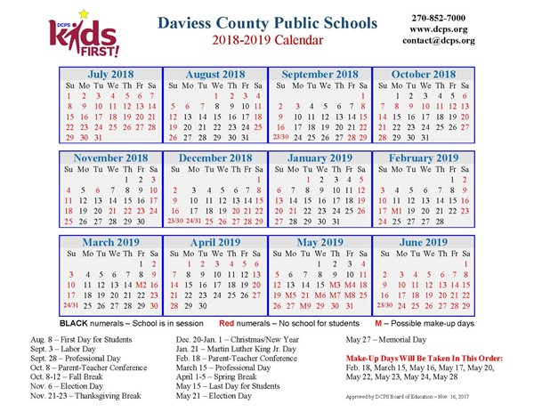 dcps 2018 2019 calendar now available daviess county public schools